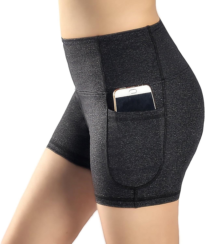 Munvot Leggings Shorty Sport Noir Femme Pantacourt Yoga Capri Jogging Fitness duex Grande Poches Taille Normale