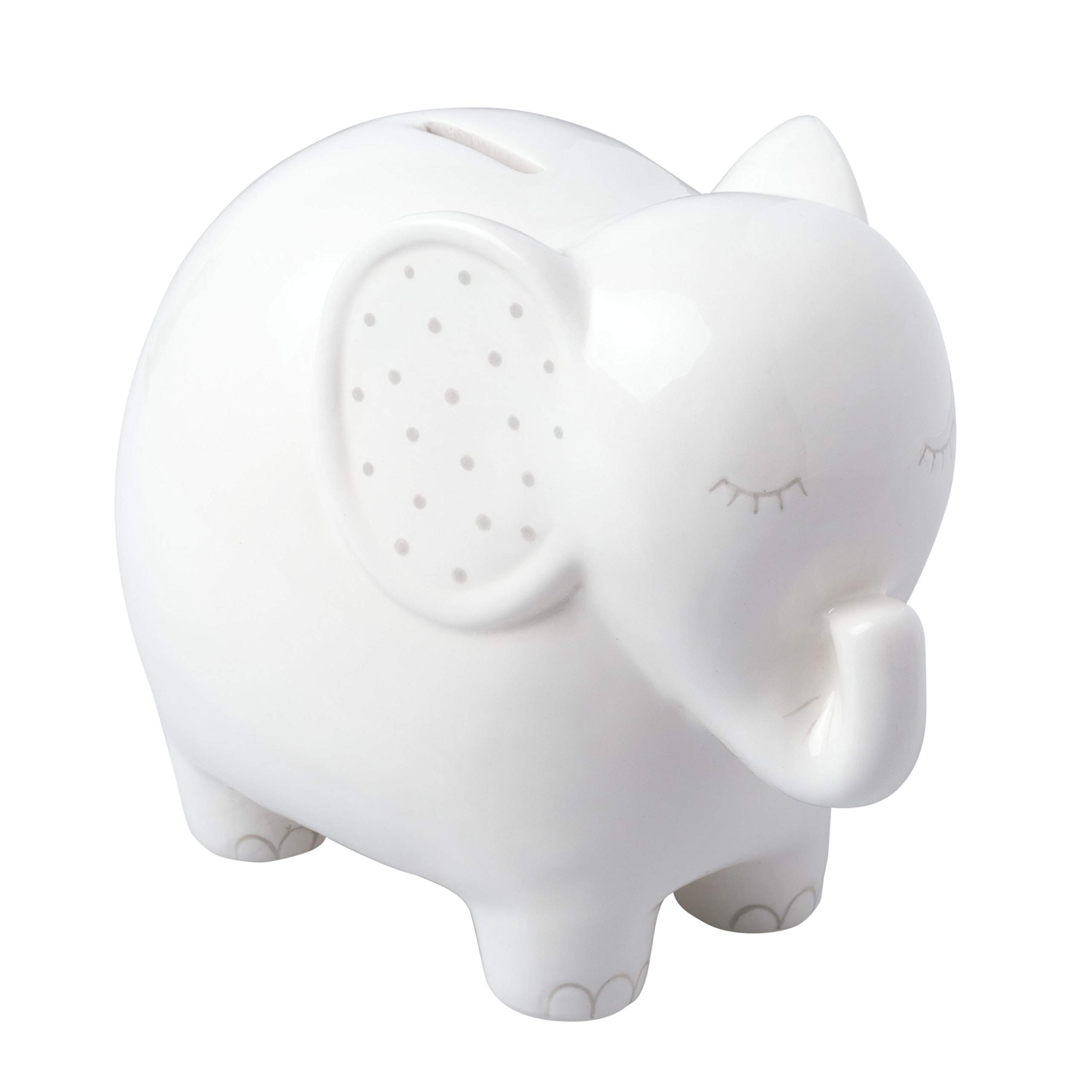 Pearhead Ceramic Elephant Bank, Unique Baby Gift, Nursery Décor, Keepsake, or Savings Toy Bank for Kids, White by Pearhead