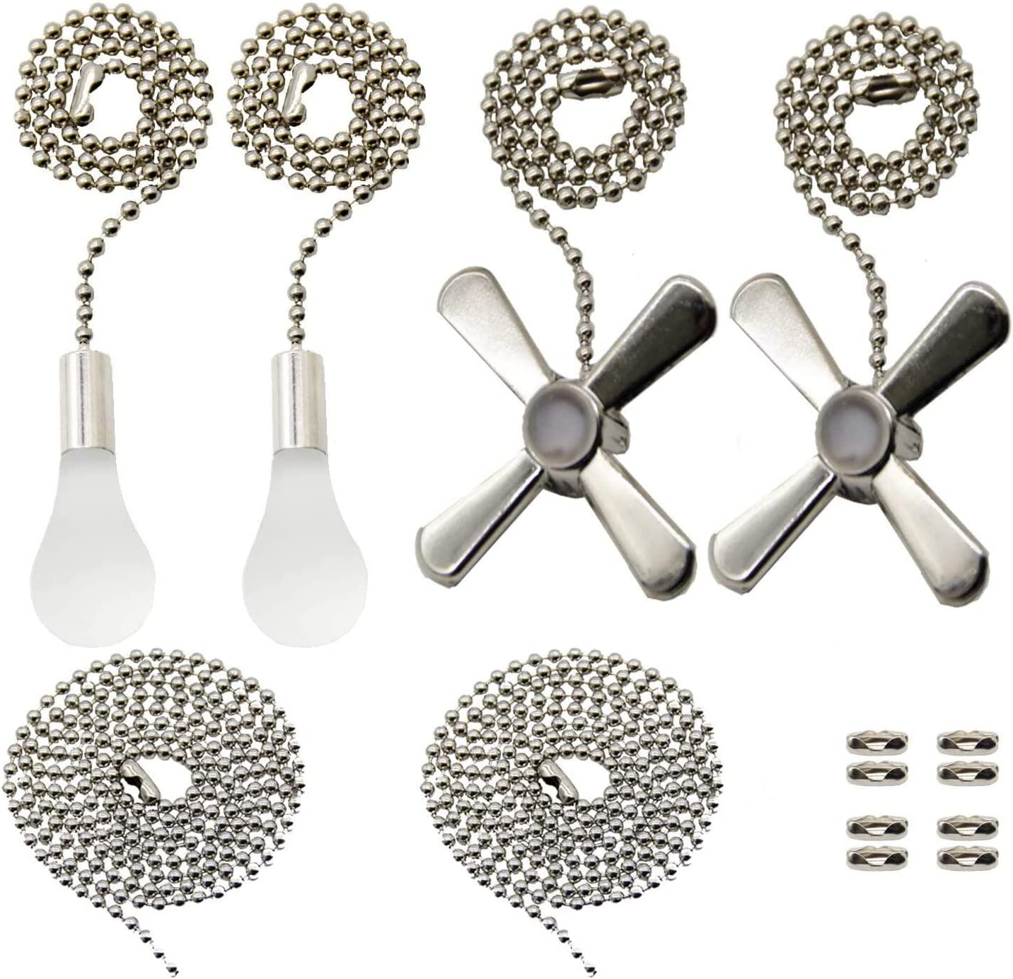 Amazon Com Iceyyyy Silver Ceiling Fan Pull Chain Set Including Extra 39 4 Inches Copper Beaded Ball Fan Pull Chain Extension And Ceiling Fan Chain Connector Kitchen Dining