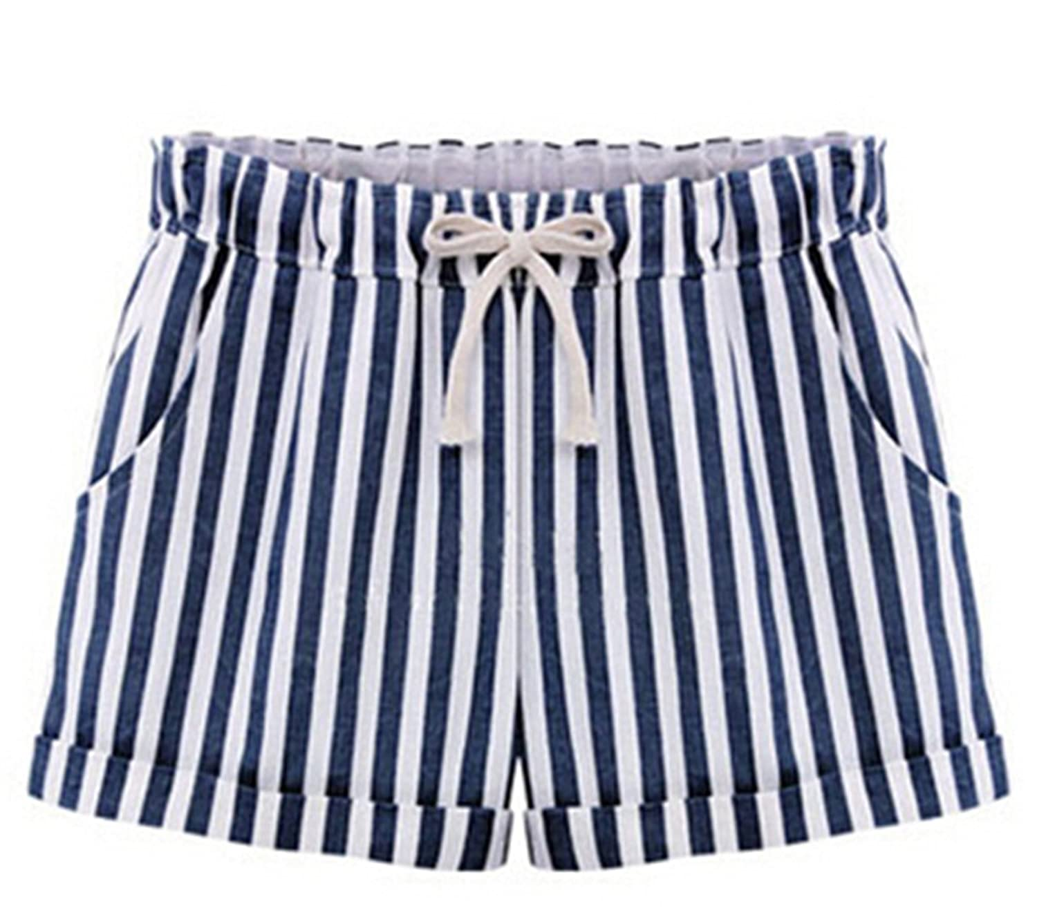 MLG Womens Striped Tie-front Casual Elastic Waist Shorts