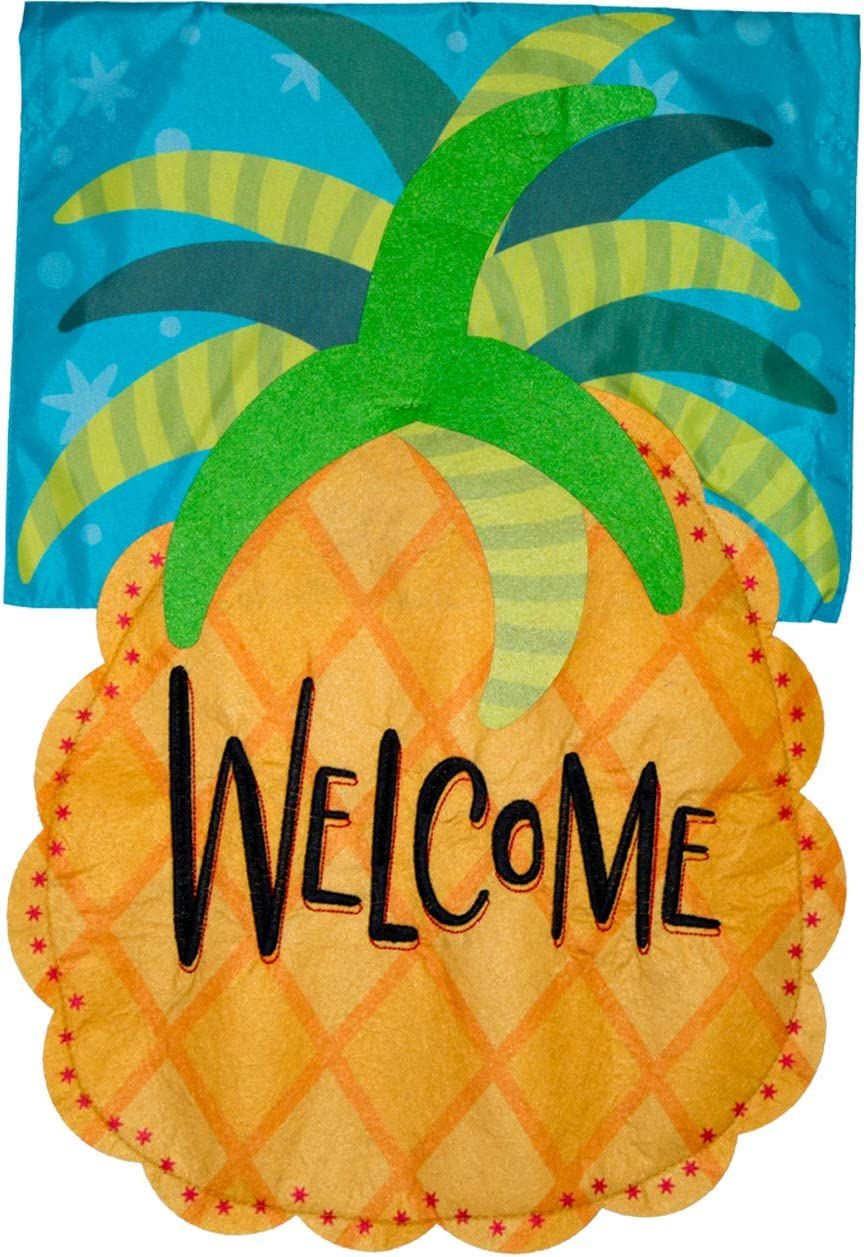 Briarwood Lane Welcome Pineapple Applique House Flag Everyday 28