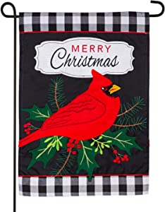 Evergreen Flag Indoor Outdoor Décor for Homes Gardens and Yards Merry Christmas Cardinal Garden Applique Flag