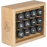 AllSpice Wooden Spice Rack, Includes 12 4oz Jars- Maple