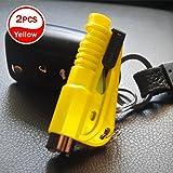 [2 pezzi] auto emergenza fuga finestra rottura martello cintura di sicurezza cutter strumento portachiavi (giallo)