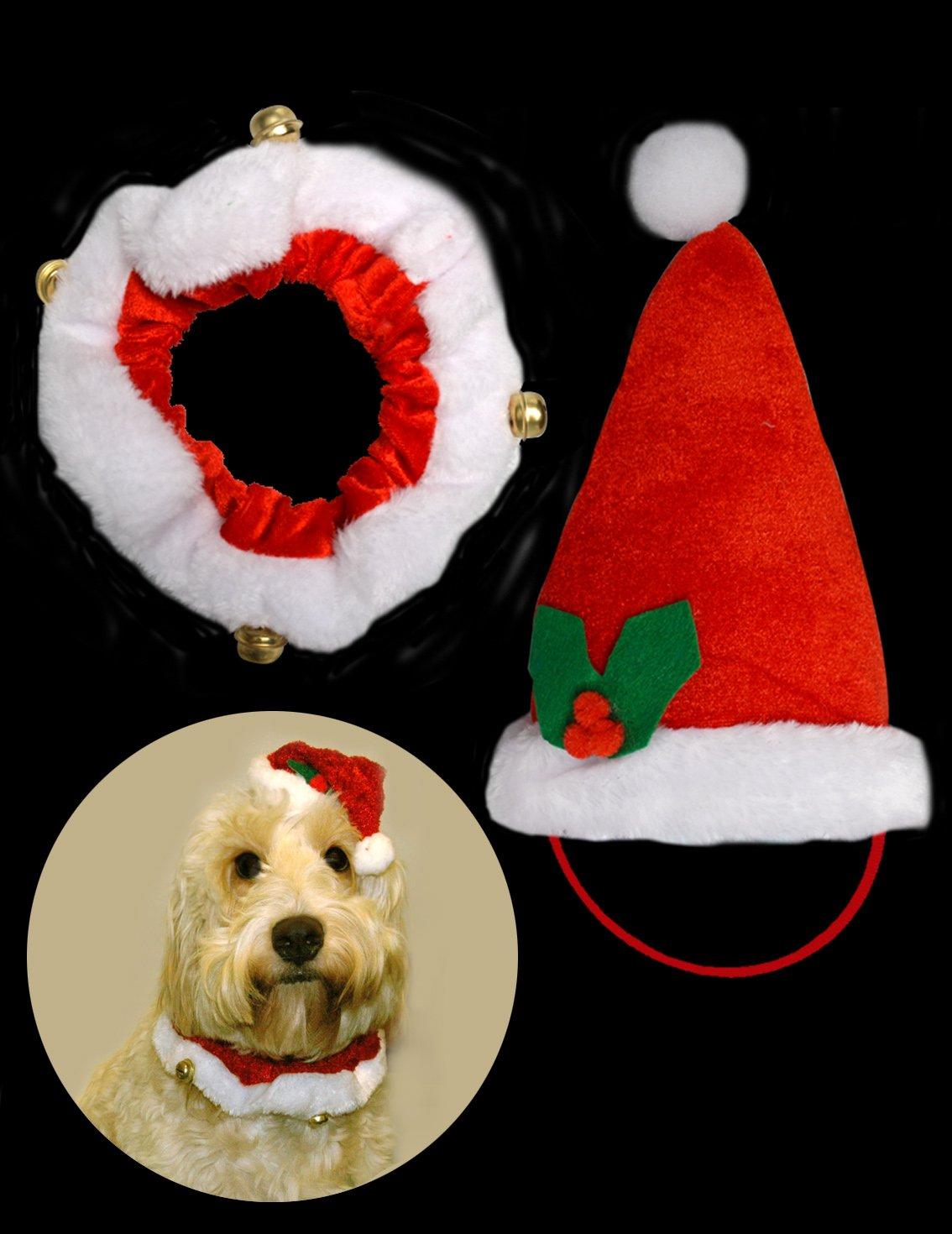 Pet-Cappello da Babbo Natale con collo a forma di campana, costume ideale per cani, cuccioli, gatti, Set di 2  Set di 2  Davies Products 54148