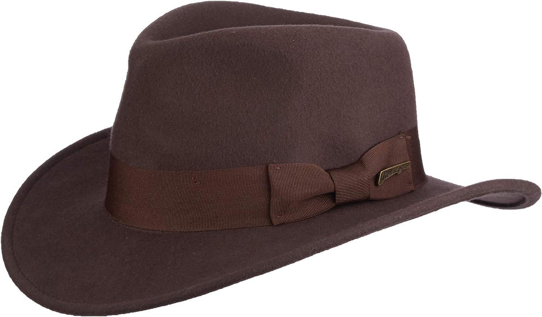 Indiana Jones Men's Wool Felt Water Repellent Outback Fedora with Grosgrain at  Men's Clothing store: Indiana Jones Hats