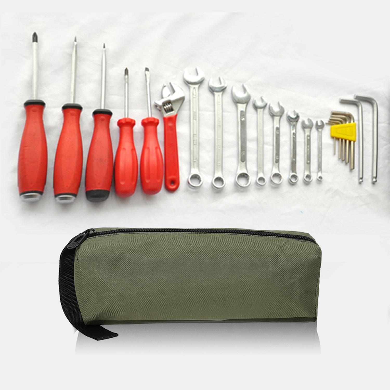 Verde TOOGOO Bolsa de herramientas de mano de almacenamiento impermeable de lona Oxford Piezas de metal de broca taladro clavos tornillos Caja bolso organizador de maquillaje de viaje de pesca