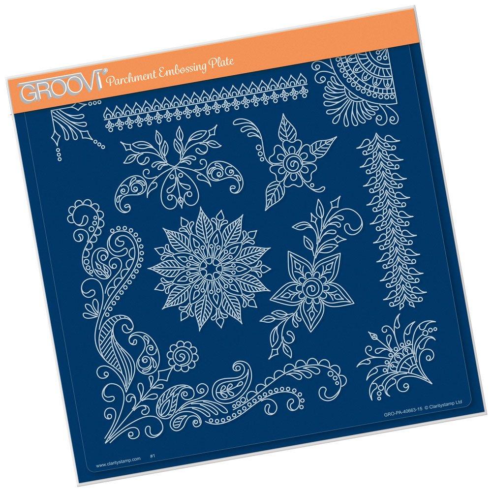 A4 Square Groovi Plate - Tina's Henna Corners 2 Claritystamp