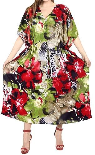 La Leela kimono coprire beachwear abito costume da bagno costume da bagno lungo caftano vestito verd...