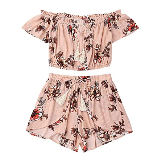 90953599bbe WILLTOO Women's Off Shoulder Short Sleeve Chiffon Floral Print Crop Top and  Shorts Set Jumpsuit (