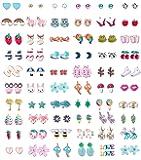 Finrezio 60 Pairs Stainless Steel Stud Earrings for Girls Women Cute Multiple Animal Fruit Flower Cute Earrings Set for Teen Girls Best Jewelry Gift