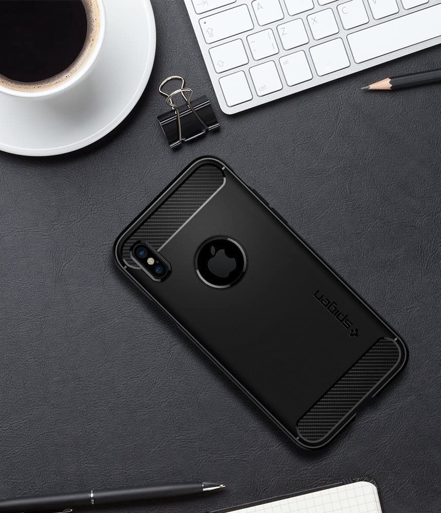Spigen Rugged Armor Works with Apple iPhone Xs Case - Matte Black // iPhone X Case 2017 2018
