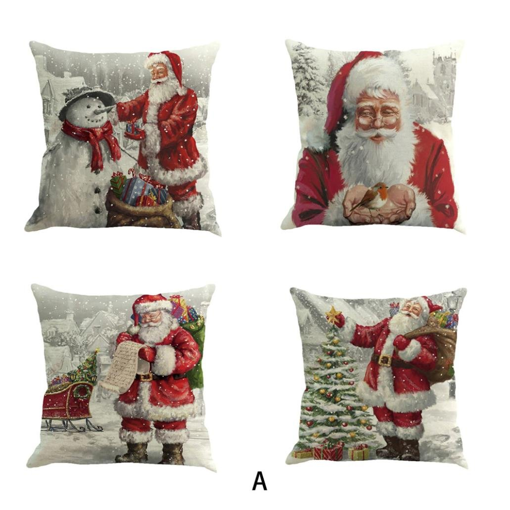 Christmas Pillow Case, Kimloog Snowman And Santa Claus Couch Bed Car Decors Cushion Pillow Covers 18x18 (18X18'', A1) by Kimloog