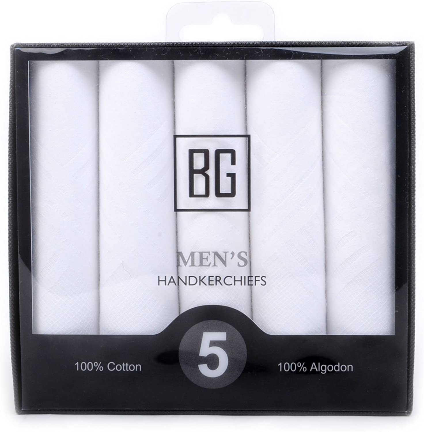 BG Mens White Cotton Handkerchief Set