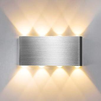 Lightess Apliques de Pared LED 8W Lámpara de Pared Interior Luz Moderna Luz de Aluminio Iluminación para Escaleras Pasillo Corredor Dormitorio (blanco cálido): Amazon.es: Iluminación