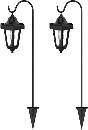 Pure Garden Solar Powered Lights-Set of 2, 32 Hanging Coach Lanterns with 2 Shepherd Hooks-LED Outdoor Lighting for Gardens, Pathways, and Patio