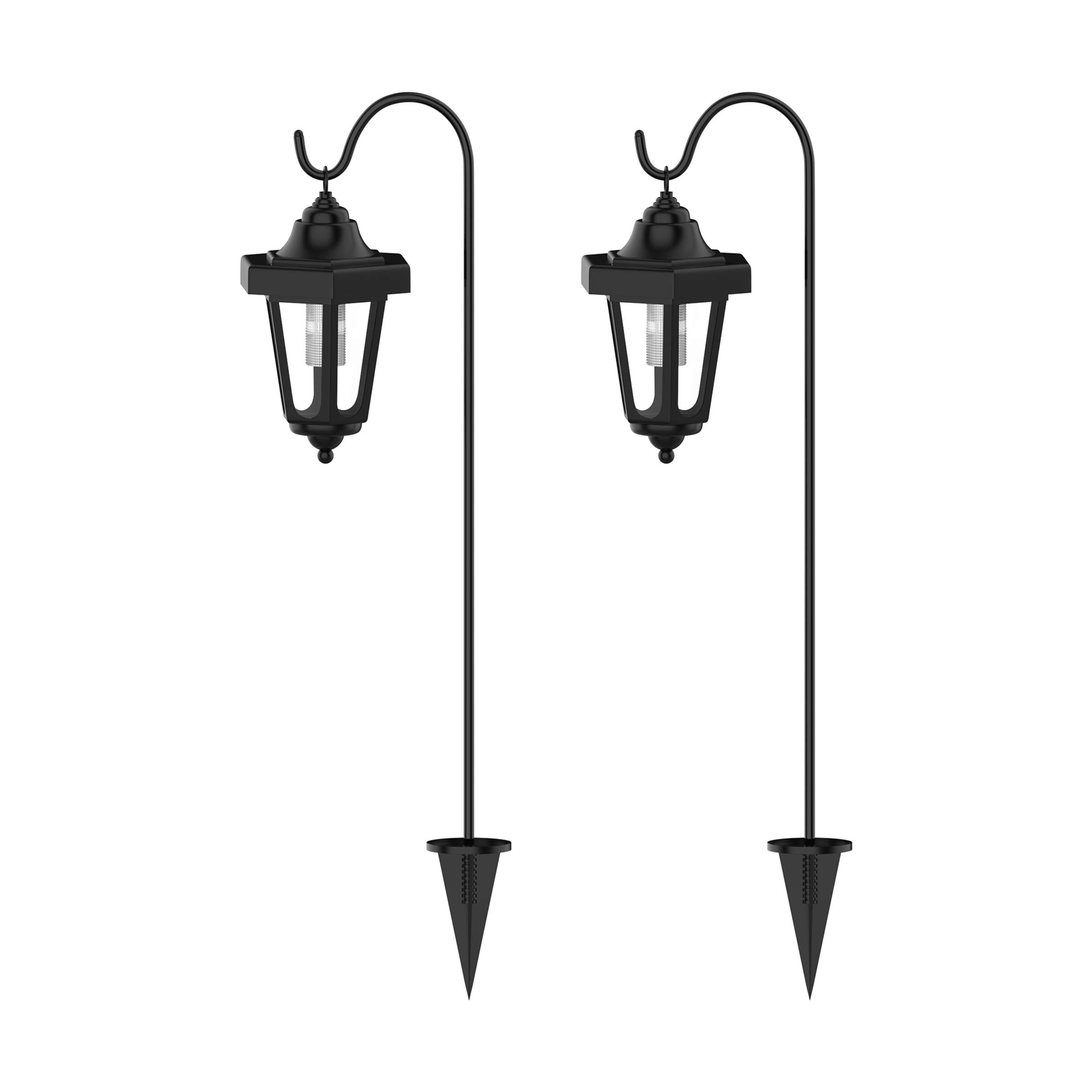 Pure Garden Solar Powered Lights-Set of 2, 32'' Hanging Coach Lanterns with 2 Shepherd Hooks-LED Outdoor Lighting for Gardens, Pathways, and Patio