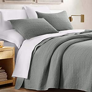 HORIMOTE HOME Quilt Set Queen Size Grey, Classic Geometric Spots Stitched Pattern, Pre-Washed Microfiber Chic Rustic Look, Ultra Soft Lightweight Quilted Bedspread for All Season, 3 Pieces
