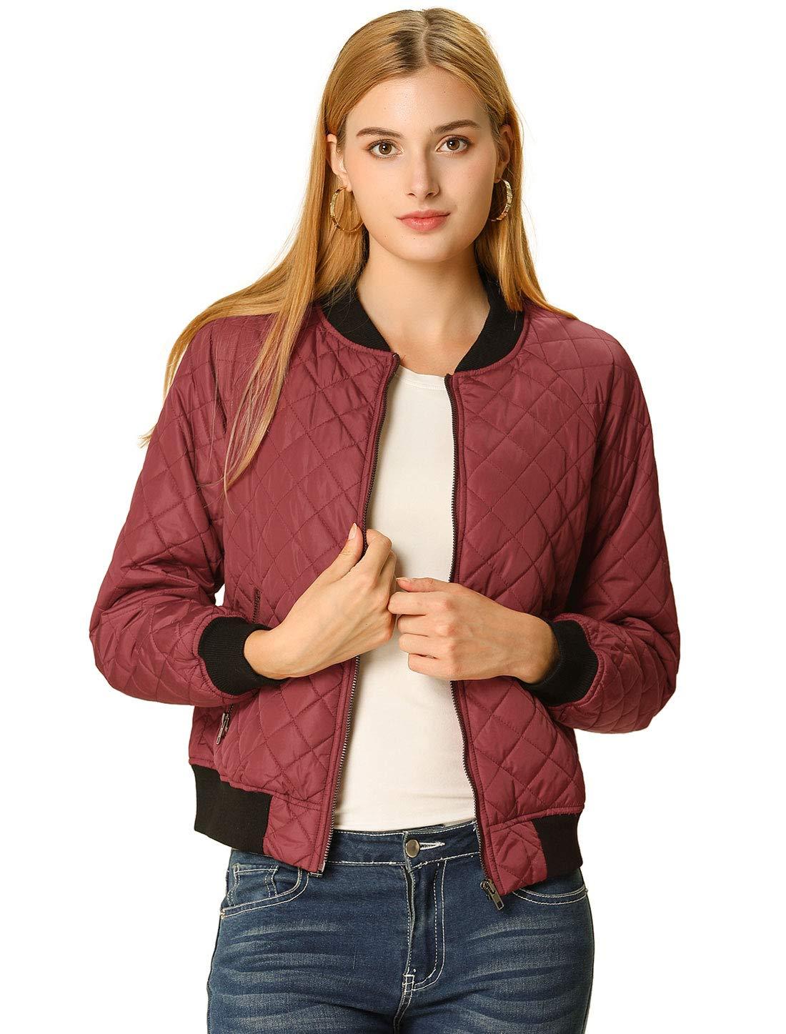 Allegra K Womens Raglan Sleeves Quilted Zip Up Bomber Jacket