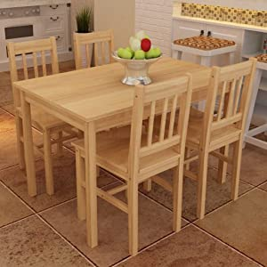 """EstaHome 5 Piece Dining Set Dining Room Set   Wooden Kitchen Table and Chairs for 4   Wood Table and 4 Chairs Set   Natural Pine Wood   42.5""""x 25.6""""x 28.7"""" & 16.3""""x 17.9""""x 33.9"""""""