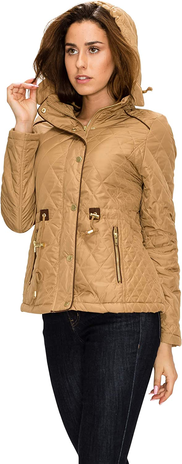 Made by Johnny MBJ Womens Quilted Military Anorak Safari Jacket