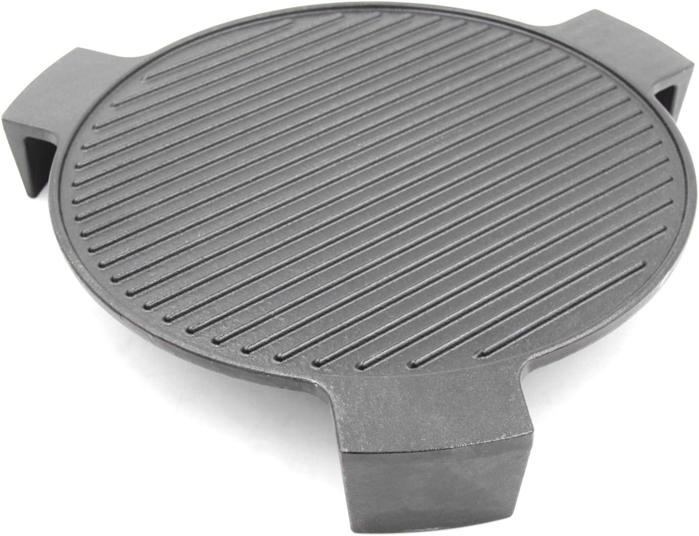 "Hongso 18"" Cast Iron Plate Setter for Large Big Green Egg, BGE Accessories ConvEGGtor, or Other 18"" Dia Indirect Cooking Grill, Grooved Pizza Stone, Smokin' Stone, Heat Deflector with 3 Legs, CBCR-18"
