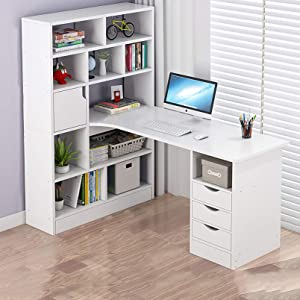 XM&LZ Multifunction Computer Desk with Hutch and Bookshelf,Large Home Office Desk Writing Workstation,L-Shaped Desk & Bookshelf Two-in-one-White 120x78x145cm(47x31x57inch)