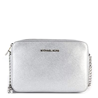 eee1c1339259 Michael Kors Jet Set Silver Saffiano Leather Large East West Crossbody   Handbags  Amazon.com