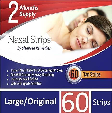 Tiras nasales grande x60 | Dilatador nasal Sleepeze Remedies® para dejar de roncar y ayudar a breathe | Tiras nasales anti ronquidos de calidad ...