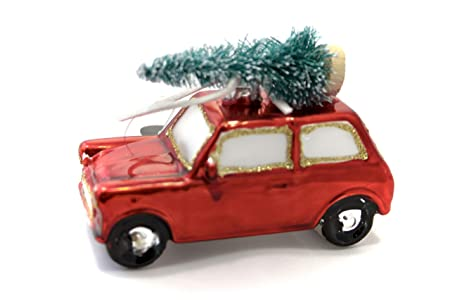 Festive Red Retro Mini With Christmas Tree On Roof Bauble Amazon Co