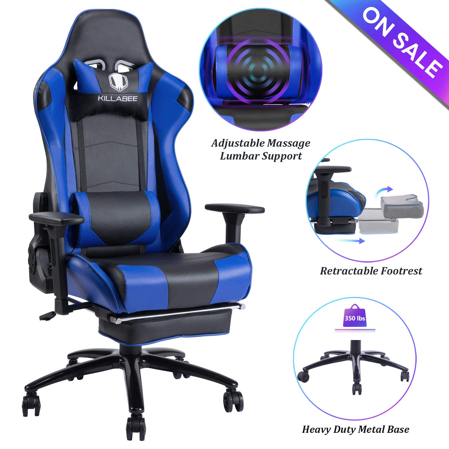 Blue Whale Massage Gaming Chair - Big and Tall 350lbs High Back Racing Computer Desk Office Chair Swivel Ergonomic Executive Leather Chair with Footrest and Adjustable Armrests (8280Blue) by Blue Whale