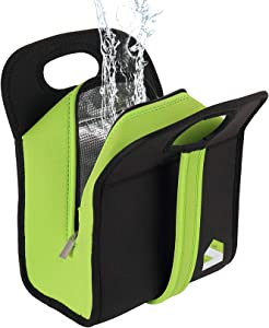 Lunch Bag Leakproof Insulated Lunch Bags Reusable Small Black Neoprene Travel Lunch Box Totes for Teen, Teacher, Nurse, Women, Boys, Kids (Black)