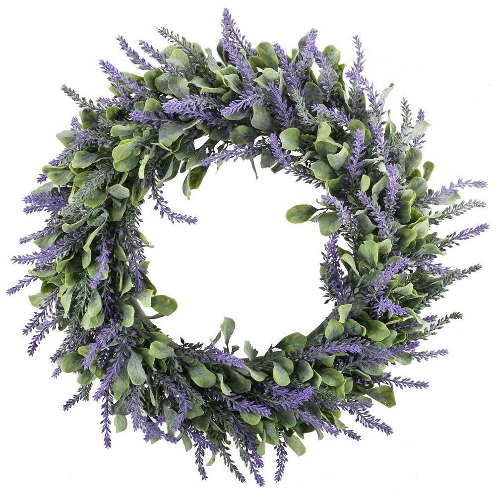 GTidea 16'' Artificial Lavender Wreaths Flowers Arrangements Front Door Wall Home DIY Floor Garden Office Wedding Decor in Purple