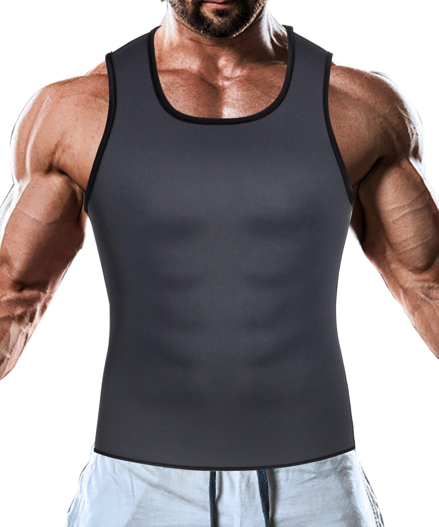 Men Waist Trainer Corset Vest for Weight Loss Hot Neoprene Body Shaper Tank Top Sauna Suit Shirt No Zip Trimmer (4XL, Black and Bule Inner Sauna Sweat Suits)