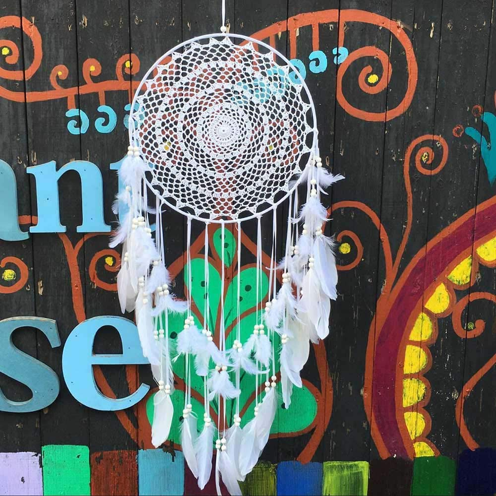 Blanc EasyBravo Grande Boho Dream Catcher avec Blanc Plumes macram/é /à Suspendre au Mur pour la d/écoration de la Maison de Mariage Vintage 35/cm Cercle 115/cm de Long