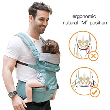 fbad30c69d4 Amazon.com   360 Ergonomic Baby Carrier with Hip Seat - AIEBAO Baby  Backpack Carrier for Men Baby Sling Front and Back(3-36 Months