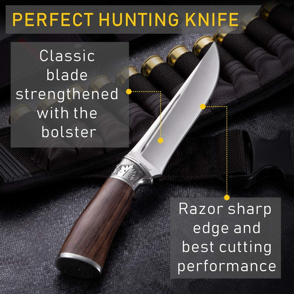Amazon.com: Grand Way - Cuchillo de caza de hoja fija grande ...