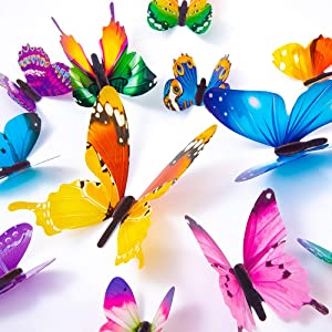 60PCS Butterfly Wall Decals - 3D Butterflies Decor for Wall Removable Mural Stickers Home Decoration Kids Room Bedroom Decor (Green)