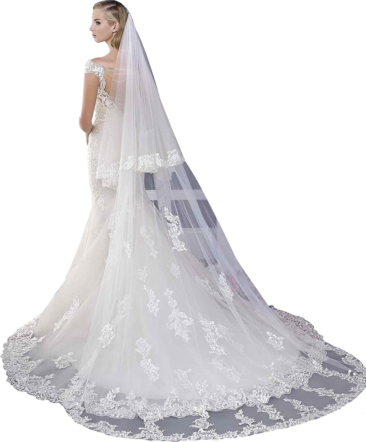Newdeve 3M 2T White Bridal Veils Lace Edge Meter Long Free Comb