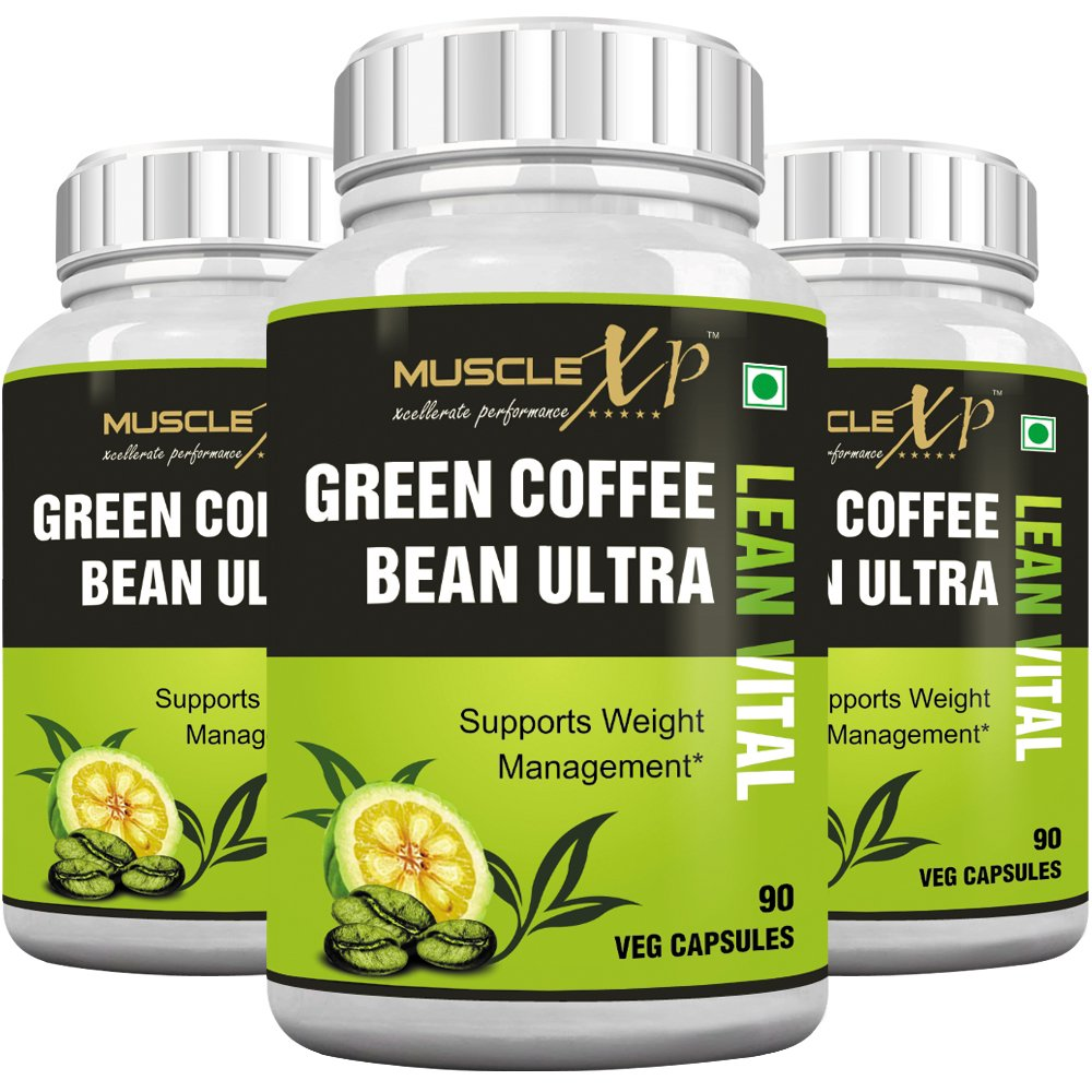 MuscleXP Green Coffee Bean Ultra Lean Vital (With Garcinia & Green Tea) - 90 Veg Caps (Pack Of 3)