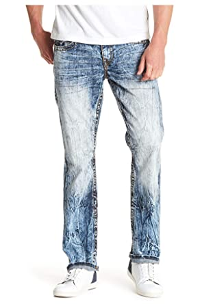 68874c539 True Religion Men s Straight Leg Relaxed Fit Big T Jeans w Flaps in Moving  Water