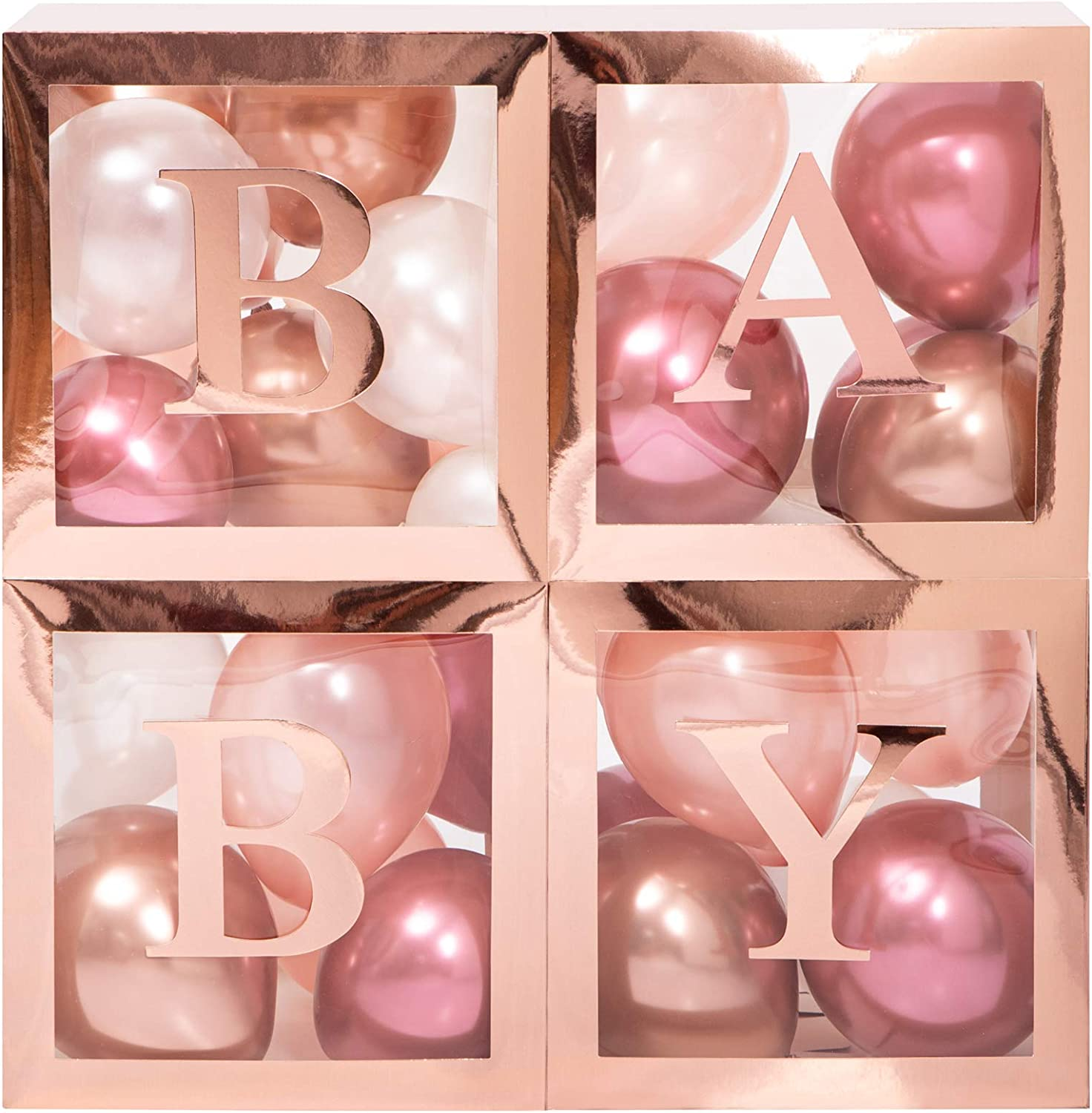 Baby Shower Boxes Party Decorations - 45 pcs, 33 Rose Gold Balloons, 4 Clear & Transparent Blocks, 8 Letters, First Birthday Centerpiece Decor & Supplies for Boys and Girls, Gender Reveal Backdrop