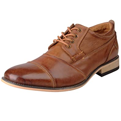 84126771a Amazon.com | Kunsto Men's Leather Cap Toe Oxford Shoes | Oxfords