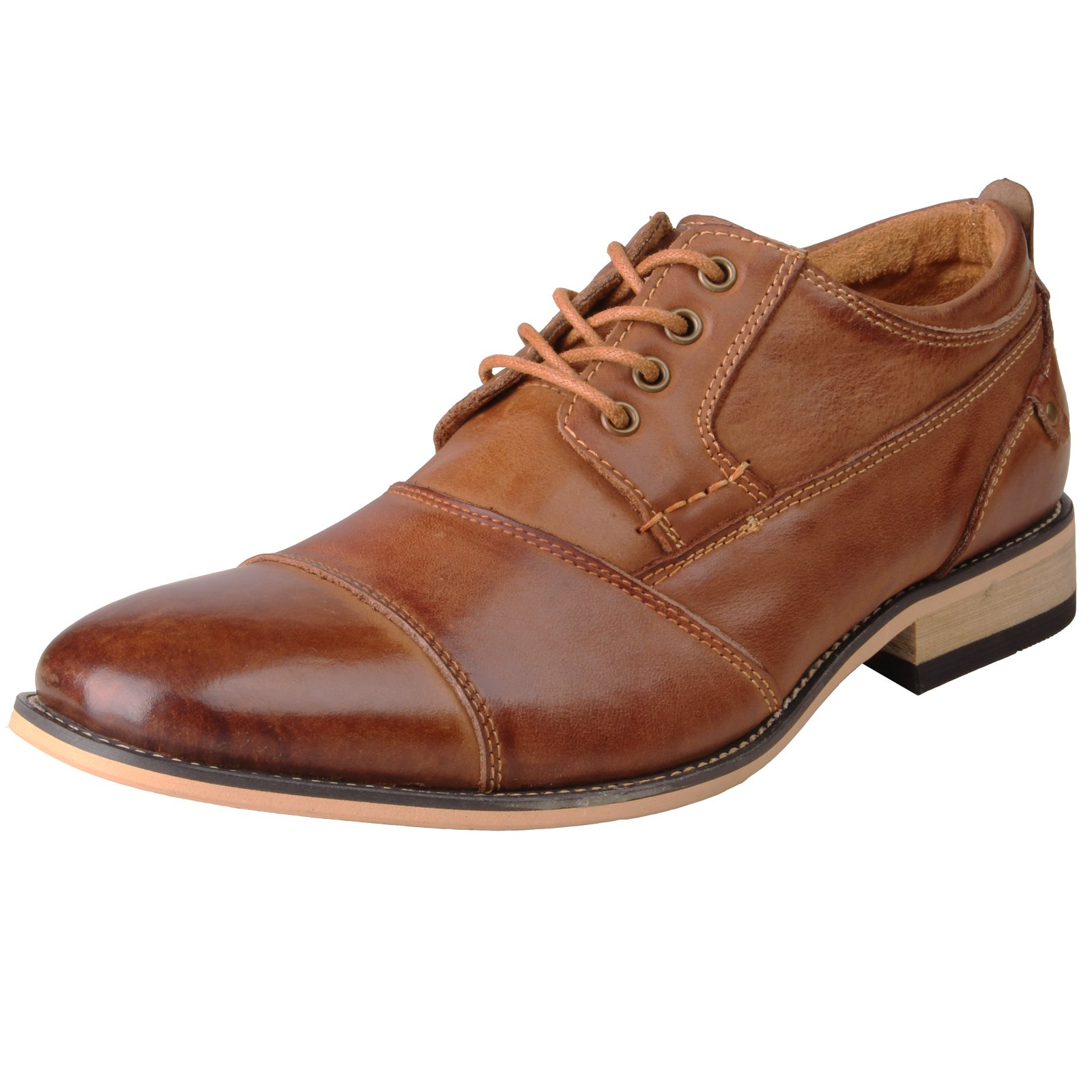 Kunsto Men's Leather Cap Toe Oxford Shoes US Size 11 Brown