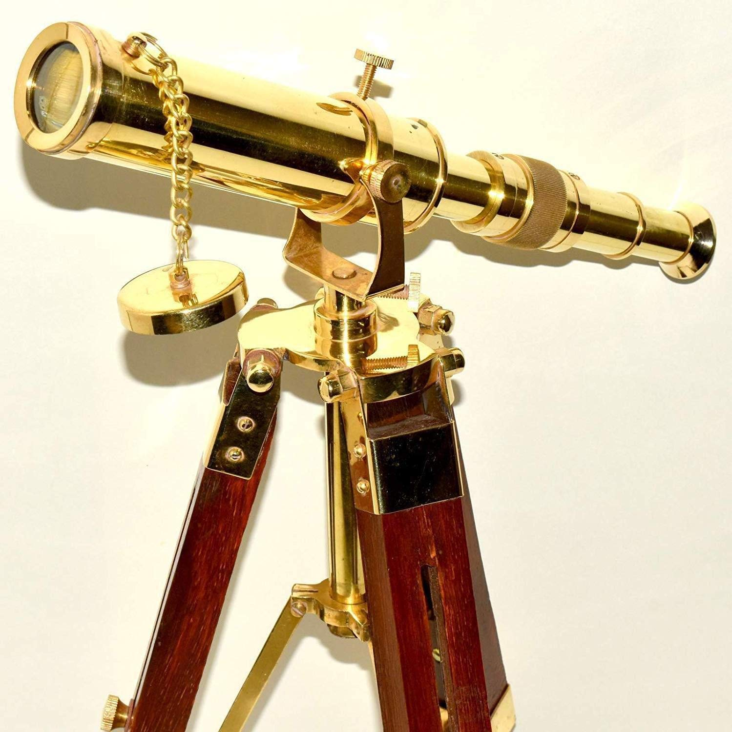 Arsh Nautical Vintage Decorative Solid Brass Antique Nautical Telescope with Wooden Tripod