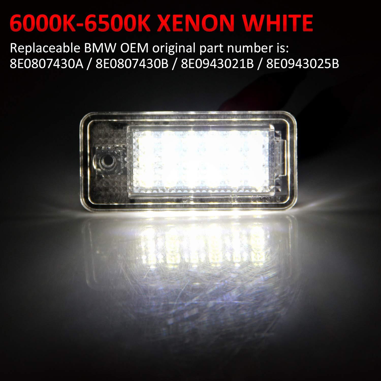 WinPower LED Luci targa per auto Lampada targa 3582 SMD con CanBus nessun errore 6000K Xeno Bianco freddo per A1//A4//S4//A5//S5//A6//A7//Q5//RS5//TT//TTRS ecc 2 Pezzi