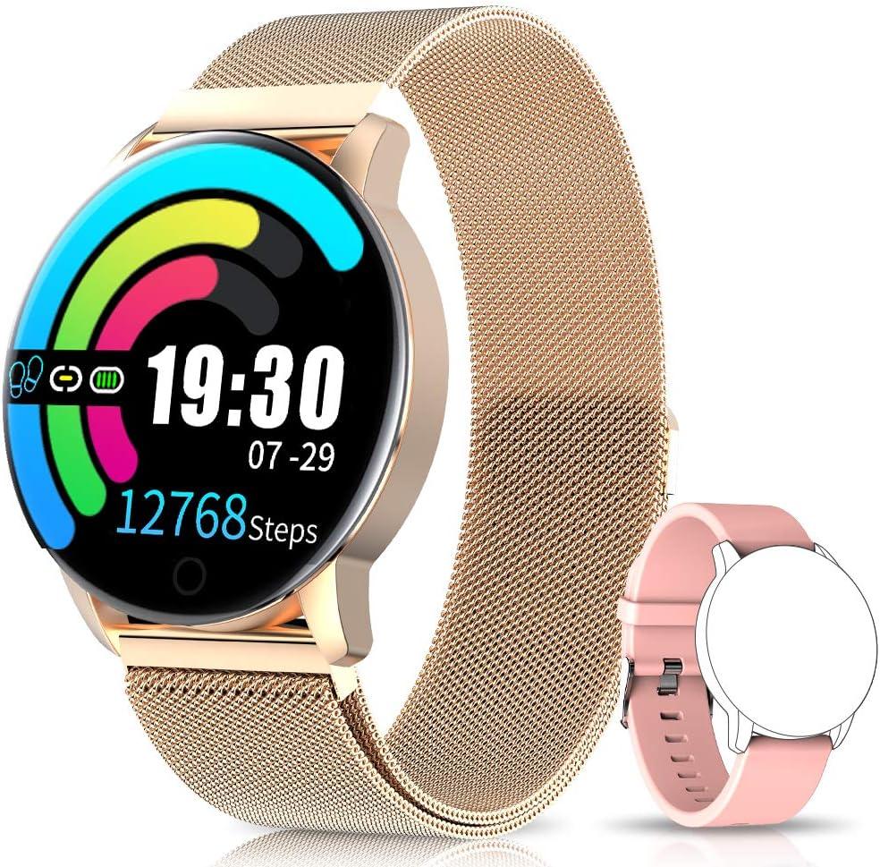 NAIXUES Smartwatch, Reloj Inteligente IP67 con Presión Arterial, 10 Modos de Deporte, Pulsómetro, Monitor de Sueño, Notificaciones Inteligentes, Smartwatch Hombre Mujer para iOS y Android (Dorado)