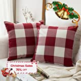 Pack of 2,Miulee Classic Retro Checkers Plaids Cotton Linen Soft Soild Christmas Decorative Square Throw Pillow Covers Home Decor Design Set Cushion Case for Sofa Bedroom Car 18 x 18 Inch 45 x 45 Cm