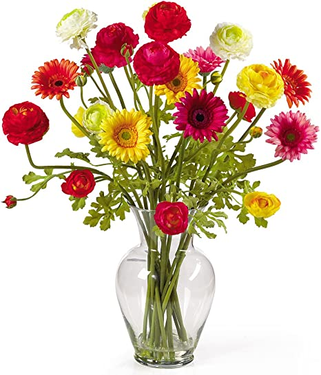 Amazon Com Nearly Natural 1102 Gerber And Ranunculus Liquid Illusion Silk Flower Arrangement Mixed Home Kitchen