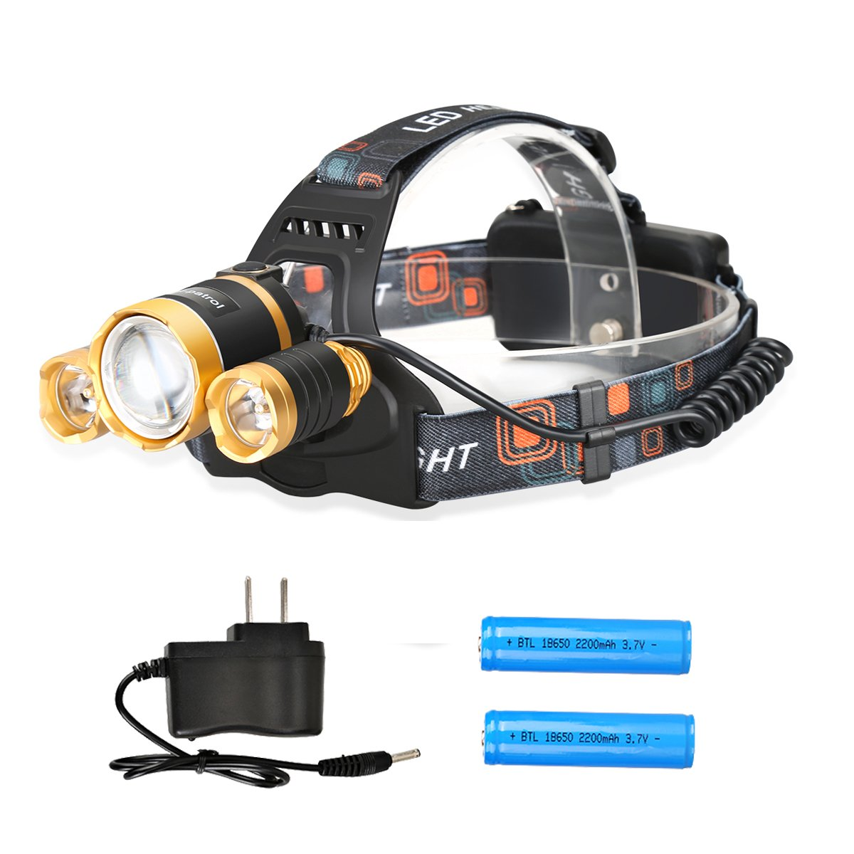 Domi-patrol Bright Led Headlamp Flashlight Heavy-Duty Durable Hands-Free Zoomable Comfortable 5000 Lumens Led Flashlight Rechargeable With Rotatable Adjustable Head For Running Camping (Gold)